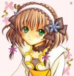 1girl artist_request bangs blush bodysuit bow breasts brown_hair detached_collar flower frown green_eyes hair_ornament hair_ribbon headband jacket leia_rolando looking_at_viewer medium_breasts pout ribbon short_hair tales_of_(series) tales_of_xillia traditional_media watercolor