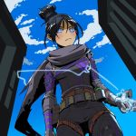 1girl apex_legends arm_at_side belt belt_buckle biribiri black_bodysuit black_hair blue_eyes blue_sky bodysuit breasts buckle building commentary day electricity eyes_closed from_below grey_scarf hair_between_eyes hair_bun highres medium_breasts ninja outdoors scarf short_hair sidelocks sky small_breasts solo thigh_strap utility_belt watermark web_address wraith_(apex_legends) zipper