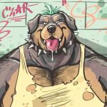 2018 anthro black_nose blush body_hair canid canine canis chest_hair clothed clothing collar domestic_dog dramamine drooling graffiti male mammal muscular muscular_male saliva shirt solo spiked_collar spikes tank_top teal_hair tongue tongue_out torn_clothing