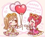 2019 2girls :d ;) ^_^ artist_name balloon blush bow brown_bow brown_eyes brown_hair chibi closed_eyes closed_mouth commentary_request dress eyes_closed flower hair_bow hair_bun hair_flower hair_ornament happy_valentine heart heart_balloon kunikida_hanamaru kurosawa_ruby love_live! love_live!_sunshine!! mono_land multiple_girls one_eye_closed open_mouth outstretched_arms pink_bow pink_dress pink_flower pink_rose profile puffy_short_sleeves puffy_sleeves red_bow red_hair rose short_sleeves side_bun sidelocks sideways_mouth signature smile wrist_cuffs yellow_dress