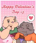 <3 2019 absurd_res anthro blush brown_fur candy chocolate clothing domestic_cat duo eyes_closed felid feline felis food fur green_eyes hi_res holidays humanoid_hands kusosensei male mammal overweight overweight_male pink_nose shirt simple_background ursid valentine's_day