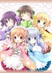 5girls :d ;) angora_rabbit animal apron aqua_eyes black_hair blonde_hair blue_kimono blue_ribbon blue_skirt blush bow brown_hair brown_skirt bunny checkered checkered_bow checkered_kimono commentary_request copyright_name english_text eyes_closed flower gochuumon_wa_usagi_desu_ka? green_bow green_eyes green_kimono green_ribbon hair_bow hair_flower hair_ornament hand_holding hands_together headdress holding holding_animal hoto_cocoa index_finger_raised japanese_clothes kafuu_chino kimono kirima_sharo light_blue_hair long_sleeves maid_headdress matching_outfit multiple_girls nanase_miori one_eye_closed open_mouth pink_flower pink_kimono pink_skirt purple_eyes purple_flower purple_hair purple_kimono purple_ribbon purple_rose red_ribbon ribbon rose skirt smile tedeza_rize tippy_(gochiusa) title ujimatsu_chiya wa_maid white_apron yellow_flower yellow_kimono