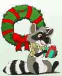 2018 ambiguous_gender aseethe brown_eyes chibi christmas digital_media_(artwork) feral fur gift grey_fur holidays mammal open_mouth procyonid raccoon scarf sitting smile solo teeth white_fur wreath