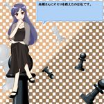 blue_hair board_game brown_eyes chess chess_piece crossed_legs dress idolmaster kisaragi_chihaya legs_crossed long_hair oversized_object sitting tamano translation_request