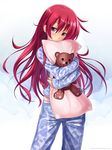 1girl atomix dakimakura_(object) highres long_hair original pajamas pedobear pillow pillow_hug pink_eyes red_hair solo watermark web_address