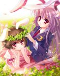 2girls animal_ears barefoot black_hair blazer bunny_ears clover crescent female flower four-leaf_clover head_wreath inaba_tewi jacket long_hair multiple_girls nature necktie purple_hair red_eyes reisen_udongein_inaba s-yin short_hair touhou