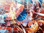 1girl blonde_hair blue_eyes honjou_erena long_hair mahou_shoujo_erena pee peeing piss restrained slime spread_legs tentacle torn_clothes twintails valkyria_(studio)