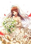 absurdres bangs bare_shoulders blurry blush bokeh bouquet brown_eyes brown_hair commentary depth_of_field dress flower flower_request frills highres huge_filesize idolmaster idolmaster_million_live! idolmaster_million_live!_theater_days jewelry long_hair looking_at_viewer mazeru_(oekaki1210) necklace open_mouth petals see-through smile solo tanaka_kotoha tearing_up tears tiara veil wedding_dress white_background white_dress