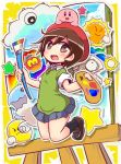 1girl :d ado art_brush bangs beret black_legwear blue_skirt blush brown_eyes brown_footwear brown_hair canvas_(object) character_request cloud collared_shirt commentary_request crescent_moon easel eyebrows_visible_through_hair green_shirt hair_between_eyes hat holding holding_paintbrush kirby kirby's_dream_land_3 kirby_(series) loafers looking_at_viewer maxim_tomato miniskirt moon naga_u nintendo open_mouth paintbrush pleated_skirt red_hat shirt shoes short_sleeves skirt smile socks star sun