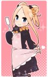 1girl abigail_williams_(fate/grand_order) apron bangs black_bow black_dress blonde_hair bloomers blue_eyes blush bow bug butterfly closed_mouth double_bun dress eyebrows_visible_through_hair fate/grand_order fate_(series) fingernails forehead hair_bow halftone halftone_background head_tilt holding insect long_hair long_sleeves looking_at_viewer looking_to_the_side no_hat no_headwear orange_bow parted_bangs pink_apron polka_dot polka_dot_bow sidelocks sleeves_past_fingers sleeves_past_wrists smile solo sparkle spatula underwear white_bloomers yoru_nai