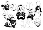 ass back_cutout blindfold breasts cleavage cleavage_cutout dress erect_nipples hair_over_one_eye hairband highres juliet_sleeves large_breasts leotard long_sleeves medium_breasts mole mole_under_mouth monochrome nier_(series) nier_automata open_mouth pod_(nier_automata) puffy_sleeves sketch sword thighhighs tongue tongue_out weapon xiaobang yorha_no._2_type_b
