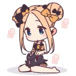 1girl abigail_williams_(fate/grand_order) animal barefoot bikini black_bikini black_bow blonde_hair blue_eyes blush blush_stickers bow chibi closed_mouth double_bun emerald_float eyebrows_visible_through_hair fate/grand_order fate_(series) forehead hair_bow long_hair lowres octopus orange_bow shadow sidelocks simple_background sitting swimsuit tokitarou_(fate/grand_order) wariza white_background yoru_nai