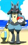 absurd_res ambiguous_gender anthro ball beach beach_ball blush canine chiji cloud day full_body hat hi_res holding_object looking_to_the_side lucario mammal nintendo nude outside pokémon pokémon_(species) red_eyes sea seaside sky solo standing video_games water