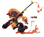 1girl bike_shorts black_footwear black_skirt boots closed_mouth domino_mask frown full_body grey_eyes headgear hero_charger_(splatoon) highres holding inkling long_hair long_sleeves mask orange_hair signature single_horizontal_stripe skirt solo splatoon splatoon_(series) splatoon_2 squidbeak_splatoon tarai_(silica5) tentacle_hair v-shaped_eyebrows white_background