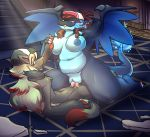 absurd_res aged_up anthro belly big_belly big_breasts breast_grab breasts canid cerealharem_(artist) cum cum_in_pussy cum_inside facial_hair female goatee green_hair hair hand_on_breast hi_res hilda_(pokémon) hildazard male male/female mammal mega_charizard mega_charizard_x mega_evolution n_(pokémon) nintendo nipples overweight overweight_female penetration penis piercing pokémon pokémon_(species) pokémorph post_transformation pussy sex smile vaginal vaginal_penetration video_games zoroark