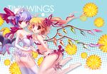 2girls ankle_ribbon ass barefoot bikini blonde_hair blue_hair elbow_gloves female flandre_scarlet flat_chest flower frilled_bikini frills gloves hair_flower hair_ornament halftone halftone_background hand_holding hat hat_ribbon holding_hands multiple_girls open_mouth remilia_scarlet ribbon s-yin short_hair siblings side_ponytail sisters swimsuit thighhighs touhou white_legwear wings