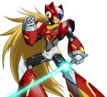 1boy android blonde_hair blue_eyes capcom energy_blade energy_sword helmet highres holding holding_weapon lightsaber long_hair male_focus ponytail rockman rockman_x simple_background smile solo standing sword user_fuyz3388 very_long_hair weapon white_background zero_(rockman)