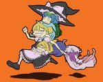4girls alice_margatroid apron arms_around_waist backpack bad_id bag blonde_hair book carrying clenched_teeth crescent crescent_moon dress female grin hair_ribbon hairband hat hug kawashiro_nitori kirisame_marisa moon multiple_girls o_o orange_background patchouli_knowledge piggyback randoseru reading ribbon running shadow shoes shoulder_carry simple_background smile subterranean_animism teeth touhou two_side_up uewtsol witch witch_hat