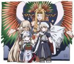 4girls absurdres altera_(fate) altera_the_santa antlers aoi_suzu artoria_pendragon_(all) bell blonde_hair bow cape dark_excalibur earmuffs fake_facial_hair fake_mustache fake_wings fate/grand_order fate_(series) fur-trimmed_cape fur_trim gift green_eyes hat highres huge_filesize jeanne_d'arc_(fate)_(all) jeanne_d'arc_alter_santa_lily multiple_girls one_eye_closed quetzalcoatl_(fate/grand_order) quetzalcoatl_(samba_santa)_(fate) red_eyes sack santa_alter santa_costume santa_hat smile white_hair wings yellow_eyes