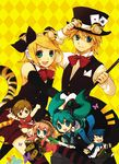 2boys 4girls animal_ears aqua_eyes argyle argyle_background blonde_hair chibi fang formal hair_ornament hair_ribbon hairclip hat hatsune_miku headphones headset kagamine_len kagamine_rin kaito megurine_luka meiko multiple_boys multiple_girls ribbon short_hair siblings smile suit tail tiger_ears tiger_tail top_hat twins vocaloid yellow_background yukkii