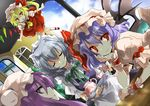 4girls alphes_(style) bad_id bat_wings blonde_hair blue_hair braid dutch_angle female flandre_scarlet hat izayoi_sakuya kyrish long_hair maid multiple_girls parody patchouli_knowledge ponytail purple_eyes purple_hair red_eyes remilia_scarlet short_hair side_ponytail silver_hair style_parody the_embodiment_of_scarlet_devil touhou twin_braids violet_eyes wings