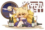 1girl animal_ears barefoot blonde_hair bottle breasts chibi choko_(cup) cleavage drunk female fox_ears fox_tail full_moon gurageida japanese_clothes moon multiple_tails off_shoulder open_mouth round_window sake_bottle short_hair solo tail tokkuri touhou window yakumo_ran yellow_eyes
