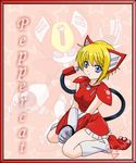 animal_ears blonde_hair blue_eyes breasts cat_ears cord ears female hair human humanized kneeling mammal medabots peppercat skirt small_breasts solo tail tzunsade