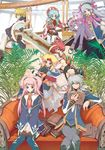 3boys 4girls animal_ears anna_laemmle atelier_(series) book cat_ears everyone flay_gunnar ghost gust highres jpeg_artifacts katana mana_khemia mana_khemia_(series) multiple_boys multiple_girls nicole_mimi_tithel nodachi official_art ootachi pamela_ibiss pantyhose philomel_hartung purple_legwear red_hat roxis_rosenkranz sulpher sulpher_(mana_khemia) sword thighhighs twintails two_side_up vayne_aurelius weapon yoshizumi_kazuyuki