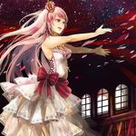 1girl bow cross crown dress frills jewelry lips long_hair megurine_luka nail_polish necklace open_mouth outstretched_arms pink_eyes pink_hair pink_nails sakuragi_kei sk sleeveless sleeveless_dress smile solo striped vocaloid white_dress wind window