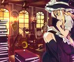 1girl blonde_hair book clock crescent crescent_moon female footwear green_eyes hat indoors kirisame_marisa kneehighs long_hair moon reading sazanami_mio sitting sky socks solo sword touhou weapon window witch witch_hat yin_yang