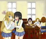 5girls akiyama_mio bad_id black_eyes black_hair blonde_hair blue_eyes blue_skirt brown_eyes brown_hair cake chair doughnut eyebrows eyes_closed food hirasawa_yui indoors k-on! kf kotobuki_tsumugi long_hair multiple_girls nakano_azusa pastry pleated_skirt school_uniform short_hair sitting skirt sweater_vest table tainaka_ritsu tea_set teapot tray twintails window