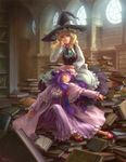 2girls bad_id blonde_hair book bookshelf braid buttons closed_eyes dress eyes_closed female hair_ribbon hat highres kirisame_marisa library long_hair multiple_girls patchouli_knowledge purple_hair ribbon ryoko_(halloween1) shade sleeping too_many too_many_books touhou voile window witch witch_hat yellow_eyes