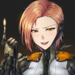 >:) artist_name bodysuit brown_hair ember_(warframe) eyebrows_visible_through_hair fire flame grin hand_up humanization looking_at_viewer short_hair simple_background smile solo upper_body upper_teeth warframe yellow_eyes zxpfer