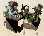 1boy 1girl baseball_cap black_(pokemon) black_hair blue_eyes board_game boots brown_eyes brown_hair chess glowing glowing_eyes hat jacket long_hair mee mijumaru oshawott pointing pokabu pokemon pokemon_(game) pokemon_black_and_white pokemon_bw ponytail sitting smiling snivy socks tepig touko_(pokemon) touya_(pokemon) tsutaaja vest white_(pokemon) wink yellow_eyes zipper