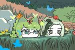 2girls bangs bug butterfly crocodile_tail day eyebrows_visible_through_hair face glasses grass green_eyes green_hair gunzan highres insect kemono_friends long_hair looking_afar multicolored_hair multiple_girls outdoors partially_submerged ponytail saltwater_crocodile_(kemono_friends) slit_pupils spectacled_caiman_(kemono_friends) swamp tail water