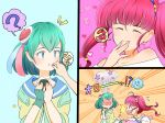 2girls :p ? ahoge antennae blue_eyes blue_hair blush eating eyes_closed fingerless_gloves food food_on_face fuwa_(precure) gloves hagoromo_lala hair_ornament heart heart_background highres holding holding_food hoshina_hikaru long_hair multiple_girls onigiri open_mouth pink_background pink_eyes pink_hair pointy_ears precure prunce_(precure) rice rice_on_face short_hair single_glove speech_bubble spoken_question_mark star star_twinkle_precure surprised tongue tongue_out twintails uokichi_(rururu0906) yuri