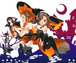 3girls alternate_costume bare_shoulders black_gloves black_legwear boots broom broom_riding brown_eyes brown_hair cape commentary crescent_moon double_bun dress elbow_gloves garter_straps gloves habit halloween halloween_costume hat high_heel_boots high_heels jintsuu_(kantai_collection) kantai_collection koruri moon multiple_girls naka_(kantai_collection) puffy_short_sleeves puffy_sleeves sarashi sendai_(kantai_collection) short_sleeves shorts silhouette single_thighhigh thigh_boots thighhighs two_side_up vampire_costume white_legwear witch_hat