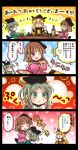 3girls 4koma :t alcohol blonde_hair blush bottle breast_grab breasts brown_hair comic cup dress eyes_closed fan folding_fan grabbing green_dress green_eyes green_hair groping hat long_hair matara_okina multiple_girls nishida_satono o_o one_eye_closed open_mouth pink_dress pote_(ptkan) purple_eyes sakazuki sake sake_bottle short_hair_with_long_locks sweatdrop tate_eboshi teireida_mai touhou translation_request
