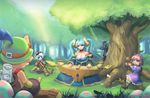 2boys 4girls annie annie_hastur apple aqua_hair arm_support bare_shoulders bear blue_hair blue_skin blush breasts champion child cleavage concert cute dakun dress eating fantasy female food forest fruit game girl grass green hairband hat highres horn horns instrument kawai kawaii large_breasts league_of_legends light log lol loli long_hair looking_at_viewer moe multiple_boys multiple_girls mushroom music nature open_mouth orange_hair pink_hair poppy short_hair shrooms silver_hair sitting smile sona sona_buvelle soraka striped striped_legwear stuffed_animal stuffed_toy sun sweet teddy_bear teemo tibbers tree tristana twintails veigar white_hair yordle