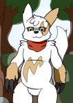 bandanna cel_shading claws digital_media_(artwork) fan_character forest fur male nintendo pokémon pokémon_(species) ray_the_zangoose slightly_chubby solo tree video_games white_fur wildwolfproduction yellow_fur zangoose