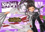 1girl black_eyes black_hair chains cloud clouds dissolving_clothes game karma karma_(league_of_legends) league_of_legends lol