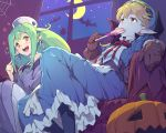 apron blonde_hair blue_hat bow breasts candy cape commentary_request crossover curly_hair dress eating fang food gloves goggles goggles_on_head hat highres long_hair marivel_armitage mirabelle_graceland multiple_girls pantyhose pointy_ears red_eyes ribbon smile tarariko vampire wild_arms wild_arms_2 wild_arms_twilight_venom