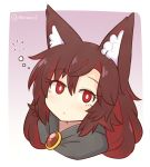 1girl animal_ear_fluff animal_ears artist_name bangs blush border brooch brown_hair bubble commentary cropped_torso english_commentary eyebrows_visible_through_hair eyelashes gradient gradient_background hair_between_eyes imaizumi_kagerou jewelry long_hair looking_at_viewer no_nose outside_border pink_background portrait red_eyes solo touhou twitter_username white_background white_border wolf_ears wool_(miwol)