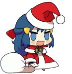 1girl andres2610 animated animated_gif blue_eyes blue_hair blush blush_stickers bow capelet chibi christmas creatures_(company) fur-trimmed_capelet fur_trim game_freak gift_bag hair_bow half_updo hat hikari_(pokemon) meme nintendo open_mouth padoru pokemon pokemon_(anime) pokemon_(classic_anime) red_bow santa_costume santa_hat short_hair sidelocks solo transparent_background