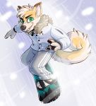 2018 anthro canine cheek_tuft clothed clothing crownedvictory digital_media_(artwork) dingo eyebrows fur green_eyes grin male mammal smile snow snowboarding solo tan_fur teeth tuft winter