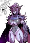 blush breasts cape claws cleavage cleavage_cutout clothed clothing fangs female hair horn humanoid japanese_text leotard long_hair not_furry open_mouth purple_hair red_sclera sharp_teeth slit_pupils solo spikes tears teeth text translation_request tsuki_wani under_boob yelling