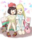 2girls absurdres backpack bag beanie black_hair blonde_hair clefairy creatures_(company) game_freak gen_1_pokemon green_eyes green_shorts handbag hat highres lillie_(pokemon) long_hair mizuki_(pokemon) multiple_girls nintendo one_eye_closed open_mouth peppedayo_ne pointing pointing_up poke_ball pokemon pokemon_(game) pokemon_sm ponytail red_hat shirt shoes short_hair short_sleeves shorts sitting skirt stuffed_toy white_shirt white_skirt