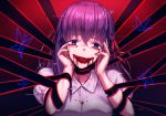 1girl :d absurdres black_ribbon blood blood_on_face bloody_tears bug butterfly fate/stay_night fate_(series) hair_between_eyes hair_ribbon head_tilt highres insect long_hair looking_at_viewer matou_sakura mazeru_(oekaki1210) open_mouth purple_eyes purple_hair red_ribbon ribbon shiny shiny_hair shirt short_sleeves smile solo upper_body white_shirt
