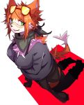2018 anthro big_breasts boots bra_straps breasts canine clothing dipstick_tail eyewear female footwear fox fur glasses green_eyes handkerchief kneeling legwear looking_at_viewer mammal multicolored_tail nipple_bulge nishiroyago orange_fur smile solo sweater thigh_high_boots white_fur