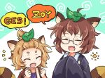 2girls animal_ears brown_hair eyes_closed fang futatsuiwa_mamizou glasses japanese_clothes leaf leaf_on_head light_brown_hair multiple_girls notice_lines open_mouth pote_(ptkan) raccoon_ears raccoon_tail round_eyewear short_hair tail tanuki_extra thick_eyebrows topknot topknot_tanuki touhou upper_body